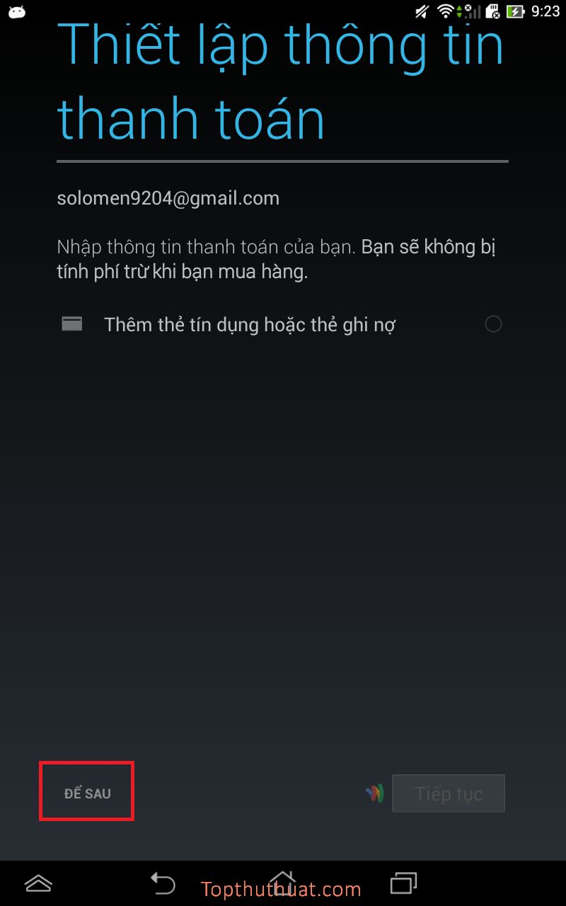 Cách đăng ký tạo lập tài khoản Google Play trên Android