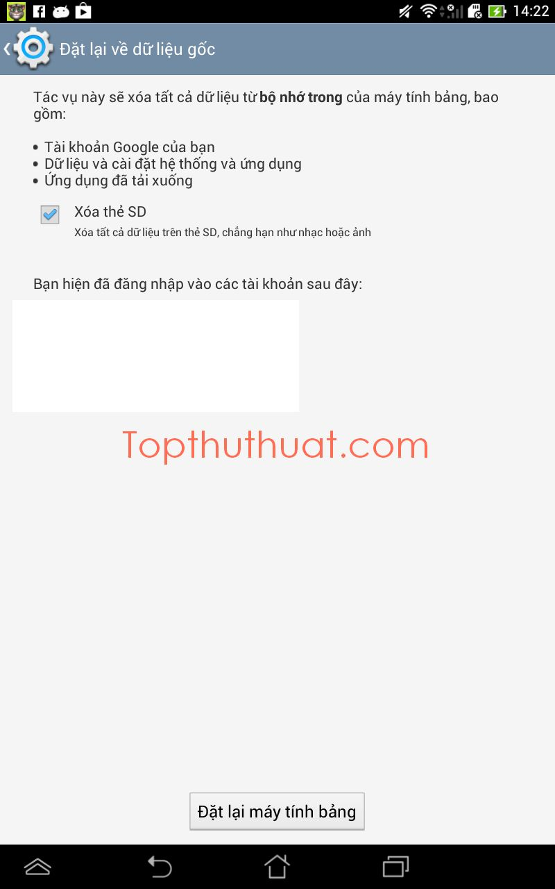 reset dien thoai android