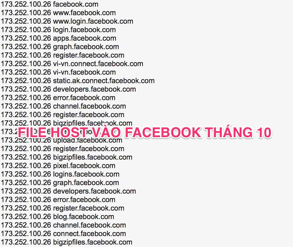 Tổng hợp file host vào Facebook năm 2017