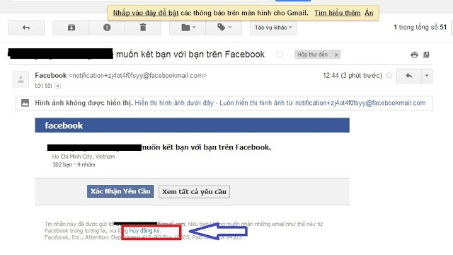 chan thong bao tu facebook