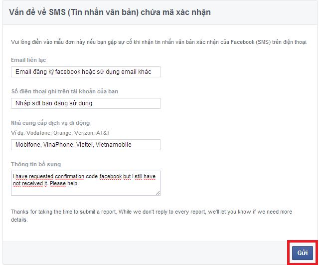 khong nhan duoc ma xa minh facebook