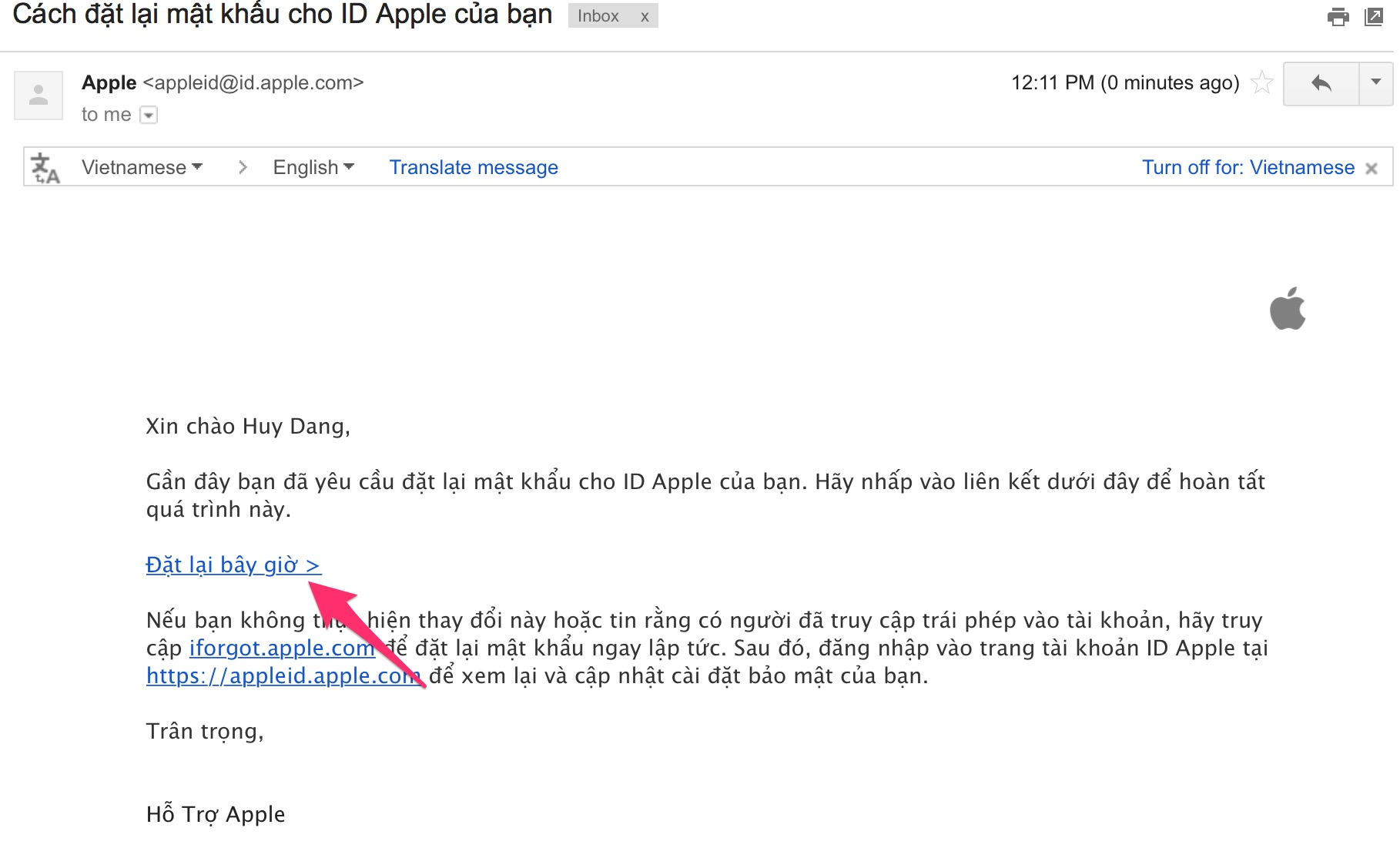 lay lai mat khau Apple ID 6