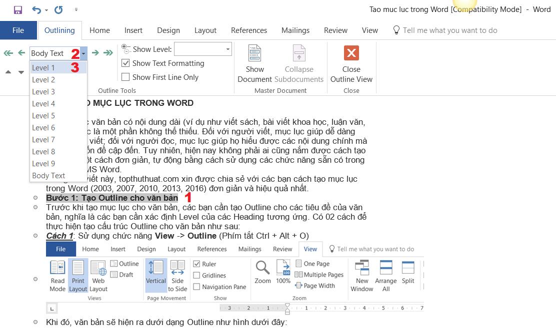 Cách tạo mục lục cho Word 3