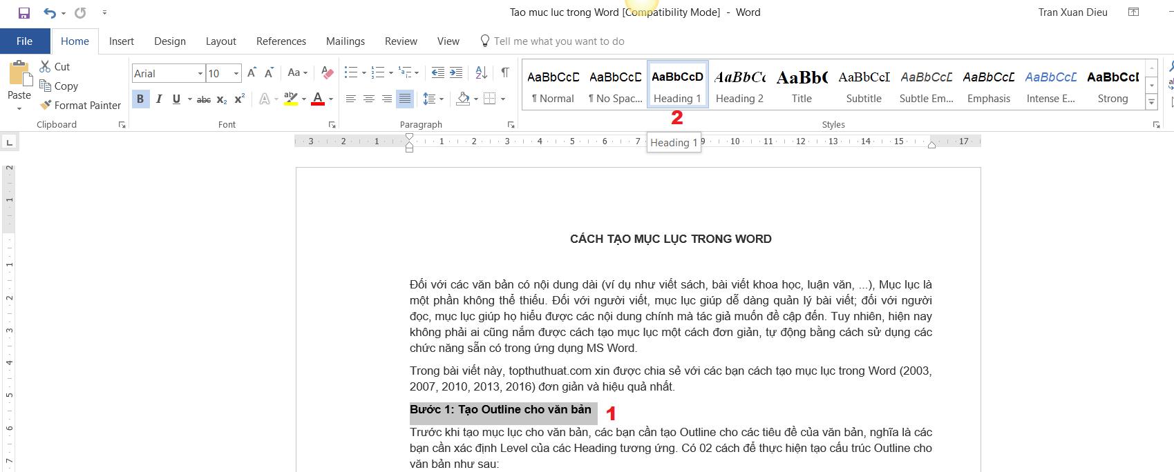 Cách tạo mục lục cho Word 4