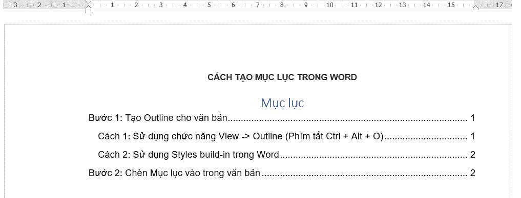 Cách tạo mục lục cho Word 7