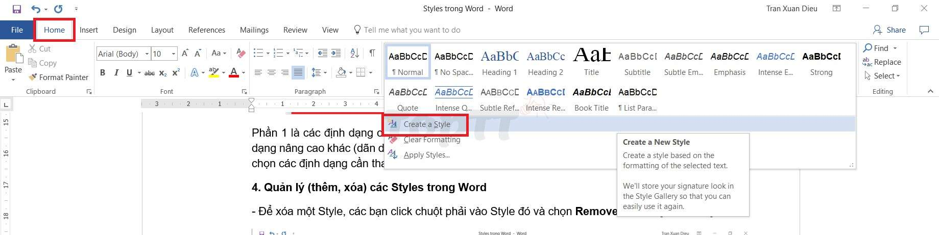 cach su dung style trong word 8