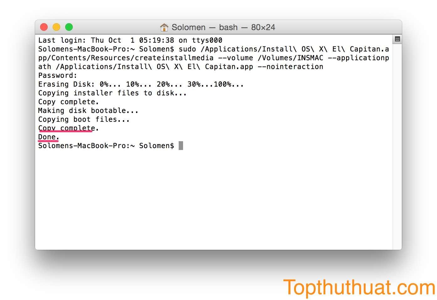 tao bo cai dat Mac OS X El Capintan bang usb