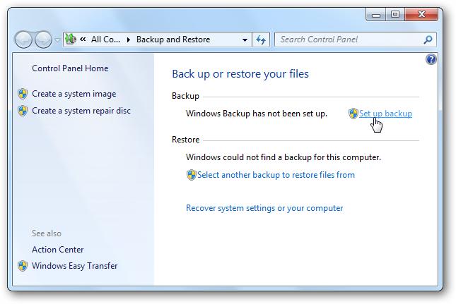 tạo bản sao lưu Windows 7