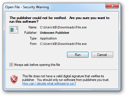 go bo canh bo Open File Security Warning