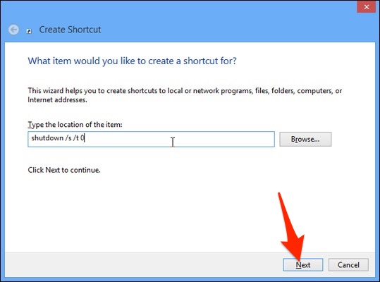 tạo nút tắt máy Windows