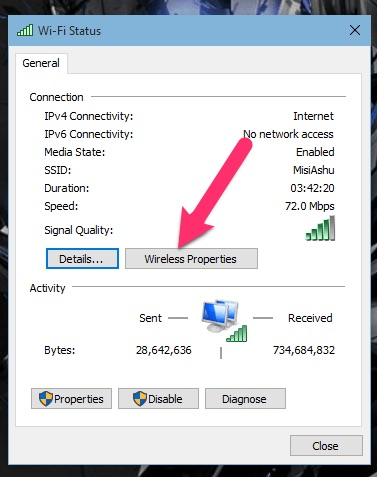 How to review the saved Wifi password in Windows 10