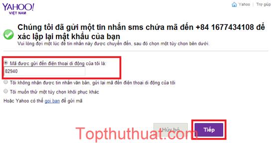 quen mat khau yahoo mail