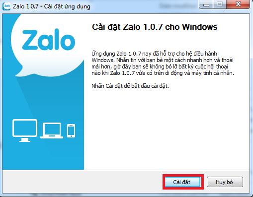 cài đặt phần mềm Zalo