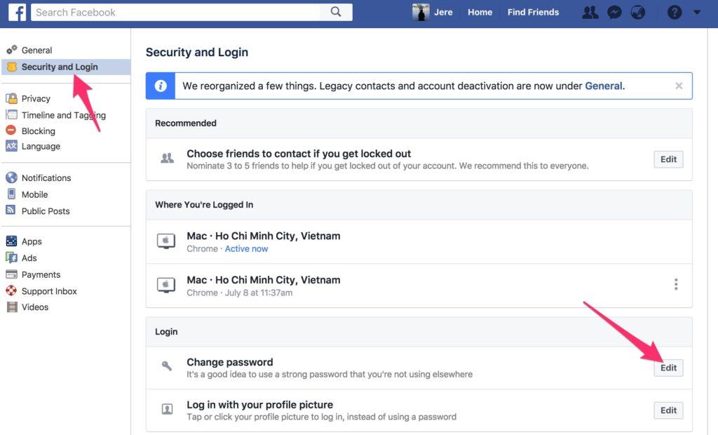 cách thay đổi mật khẩu Facebook