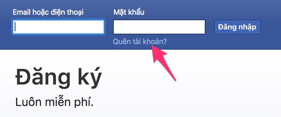 cách lấy lại mật khẩu tài khoản Facebook