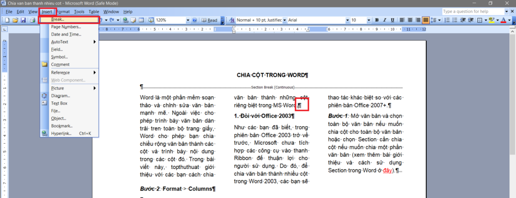 chia cot trong word