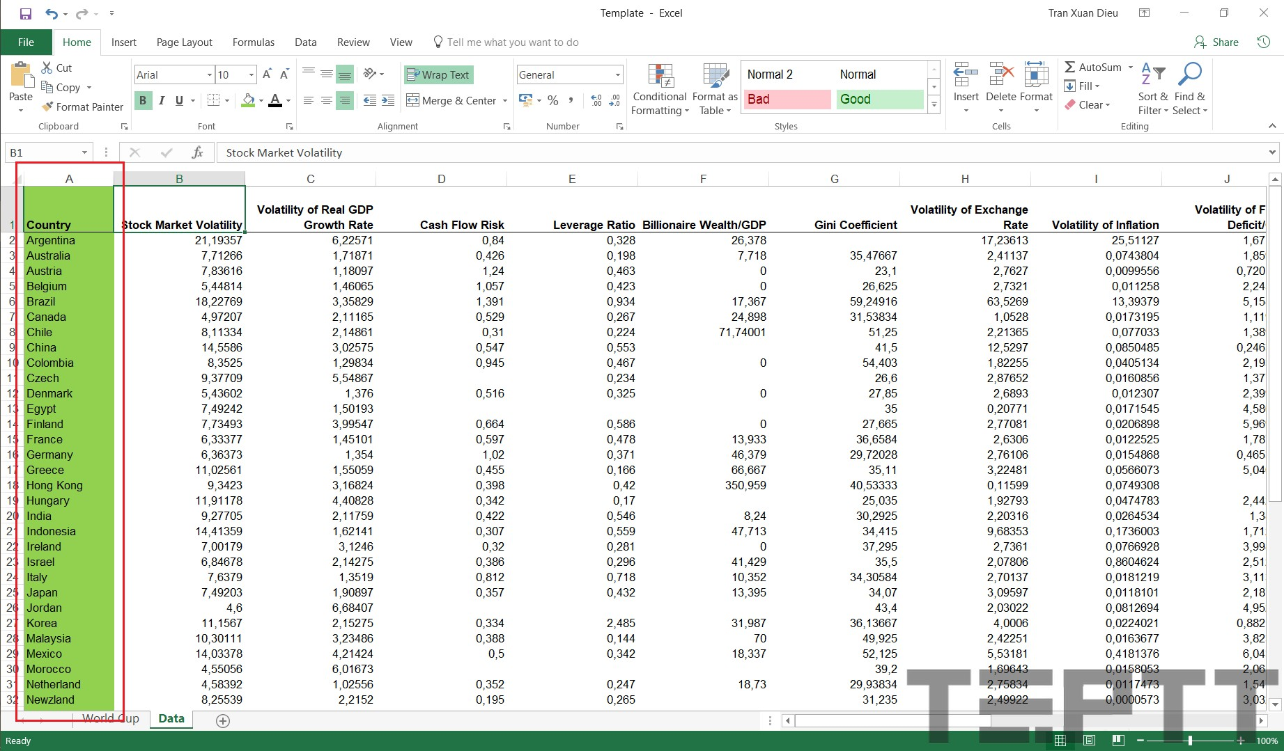 co dinh dong trong excel