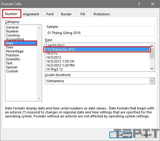 nđịnh dạng ngày tháng trong Excel