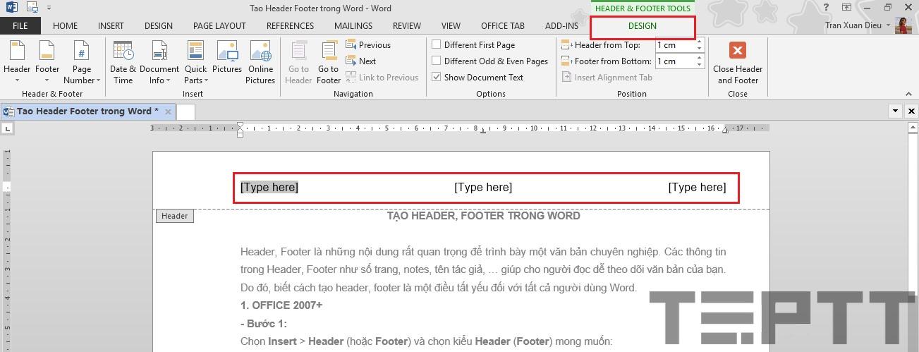 tạo header và footer trong word