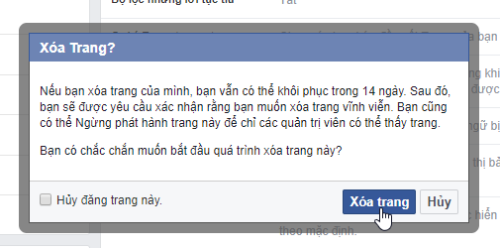 cach xoa fanpage facebook