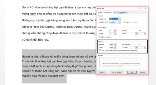 cach gian dong trong word 1