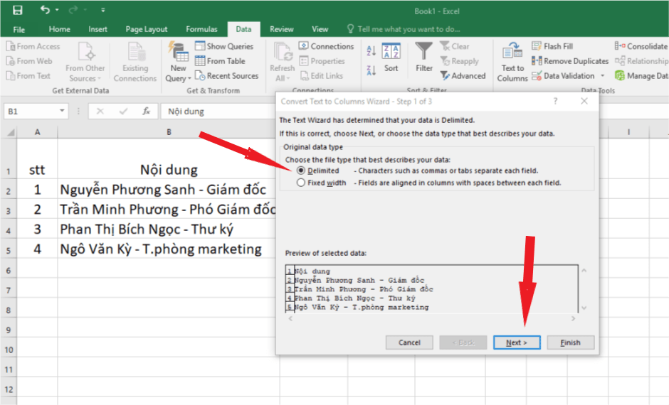 chia cot trong excel