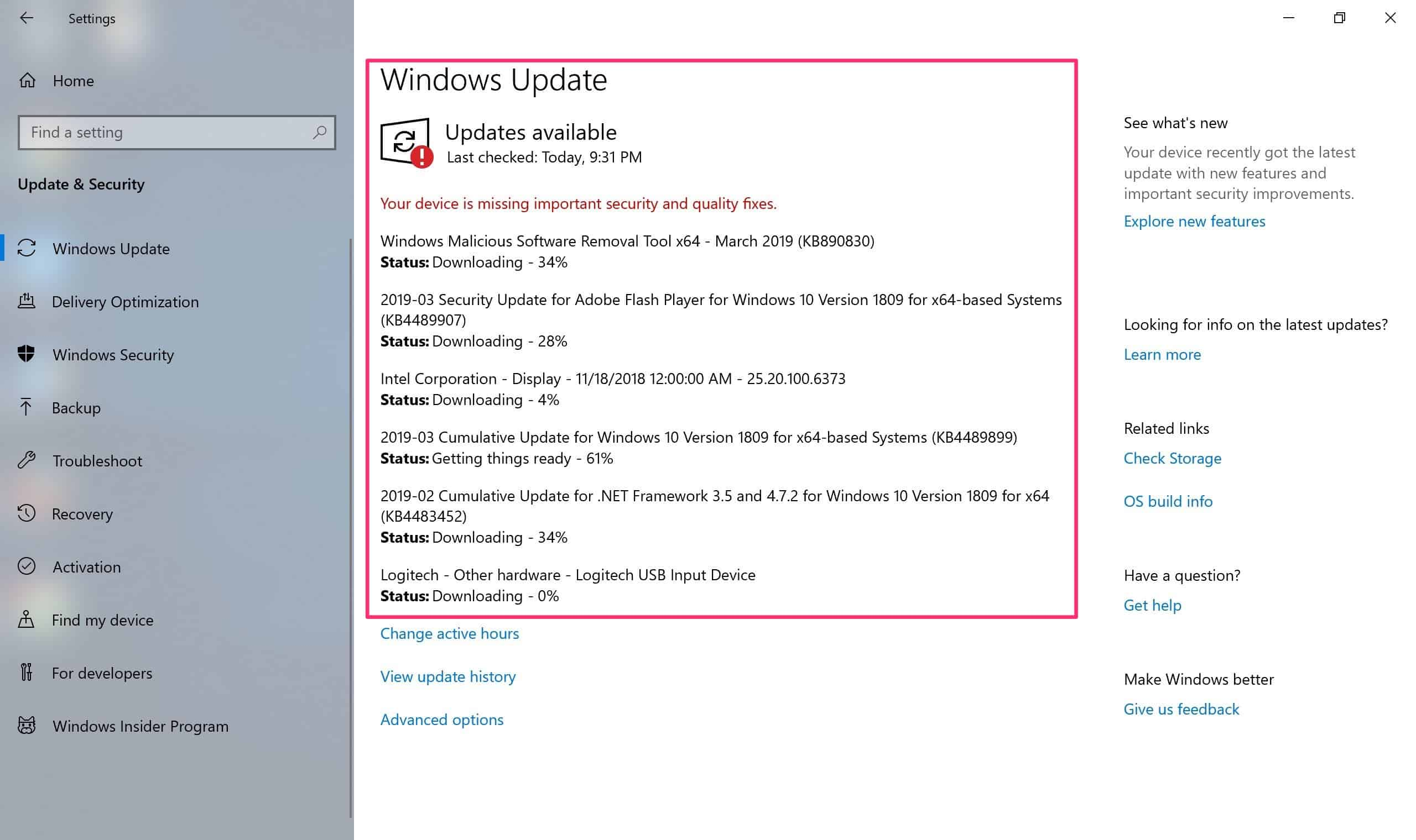 tat windows update 10