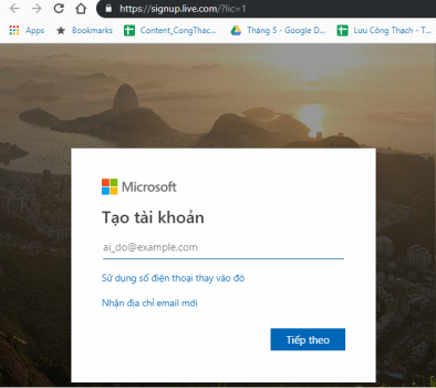 cách tạo tài khoản Microsoft