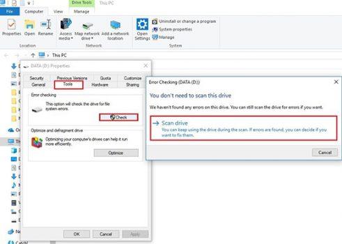 kiểm tra ổ đĩa với Windows 10