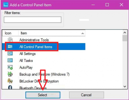 Control Panel trên Win 10