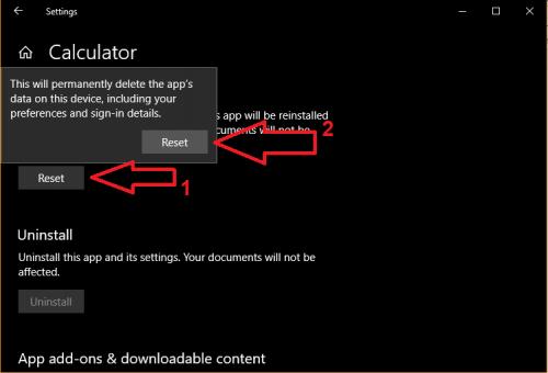 Calculator Windows 10 bị lỗi