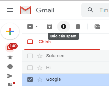 Báo cáo spam gmail