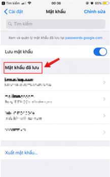 quản lý mật khẩu của Chrome iphone