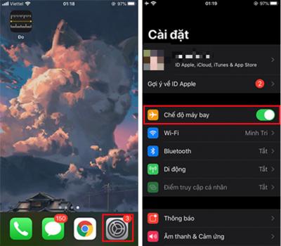 Bật chế độ máy bay trên iPhone