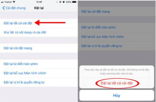 khôi phục cài đặt mặc định trên iPhone