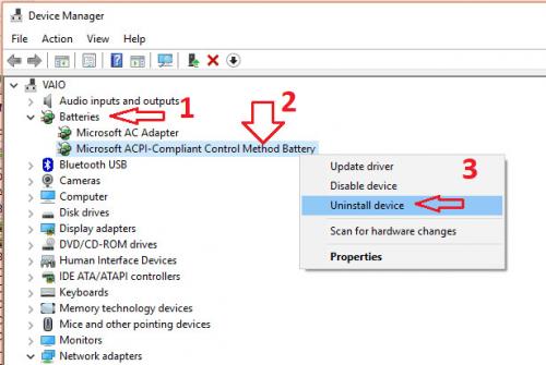 cập nhật driver pin để sửa lỗi laptop sạc pin không vào