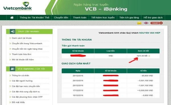 su dung dich vu internet banking ngan hang VCB