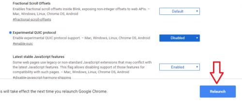 Relaunch Now trình duyệt Chrome