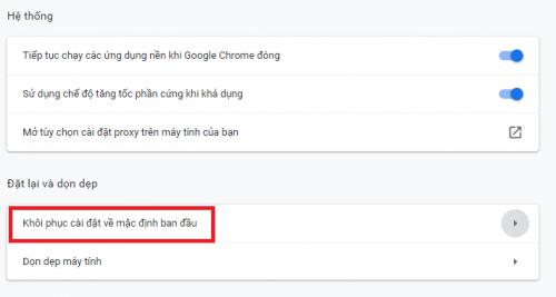 Reset trình duyệt Google Chrome