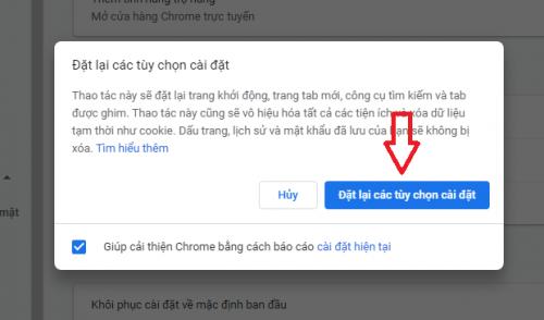 Khôi phục cài đặt gốc trình duyệt Chrome