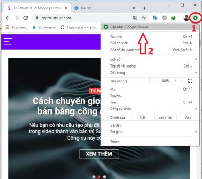 Nâng cấp trình duyệt Chrome