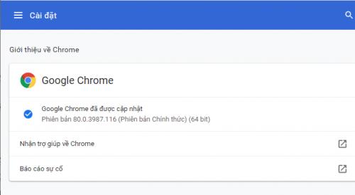 Cập nhật Chrome phiên bản mới nhất