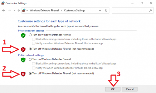 - Tắt Firewall Windows 10