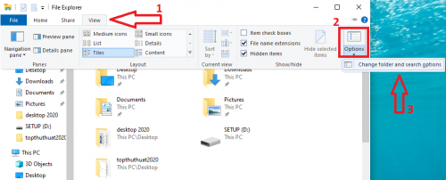 hien thi file an win 10