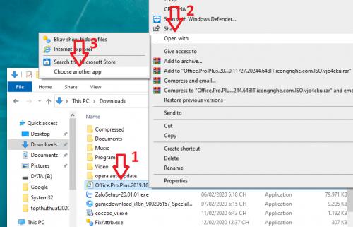 "Chạy file .exe bằng cách ""Open Whith"""