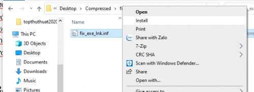 lỗi chạy file .exe sẽ được khắc phục bằng công cụ fix_exe_lnk