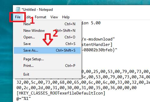 Thêm vào rygistry mới để khắc phục lỗi không mở được file exe