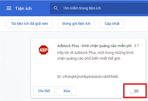 tắt trình chặn quảng cáo ABP