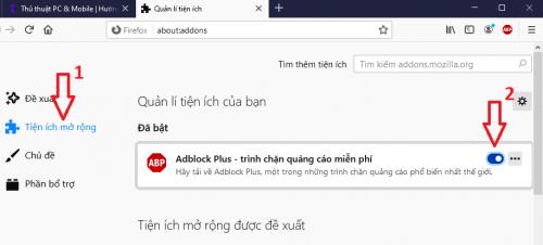 tắt tiện ích chặn quảng cáo Firefox