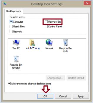 Đưa biểu tượng thùng rác ra màn hình desktop win 8